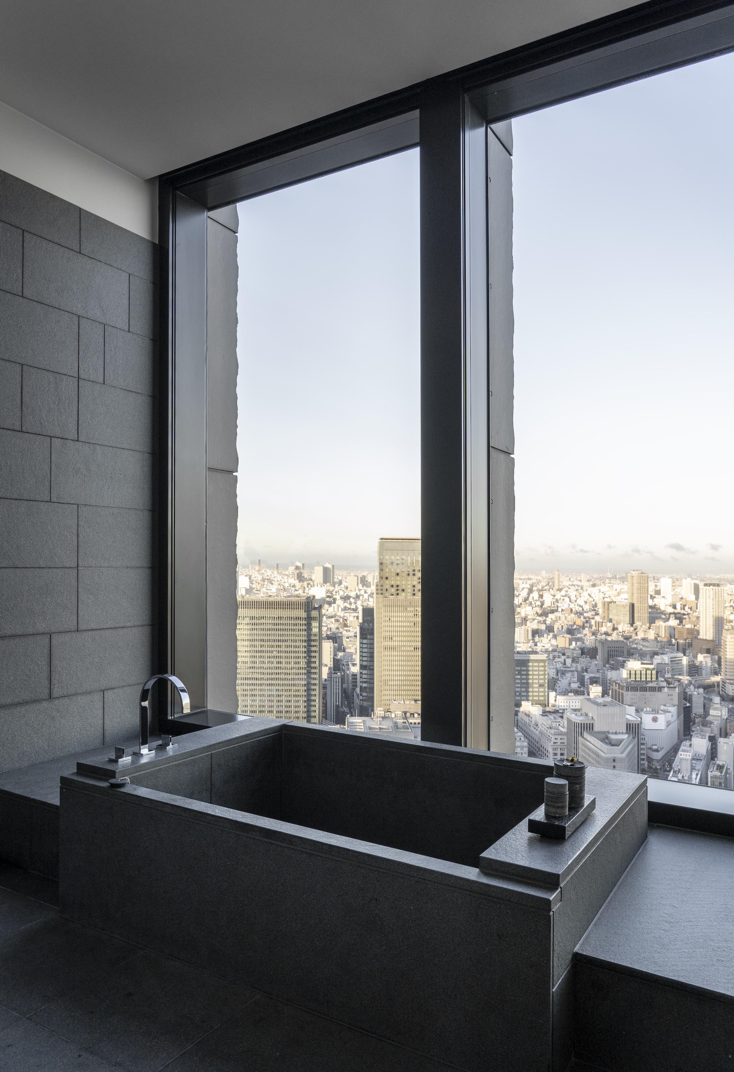 Aman Tokyo Bath View — Modern Luxury Hotel Tokyo — Softer Volumes