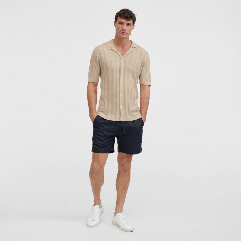 VENROY Short Sleeve Knitted Rib Stripe Shirt