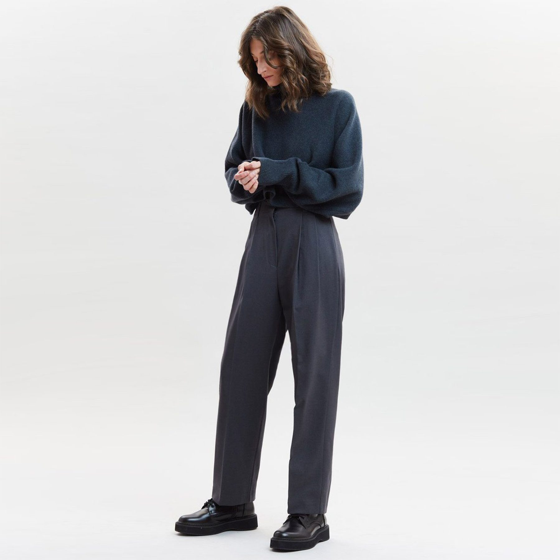 The Frankie Shop Straight Belted Pleat Pants